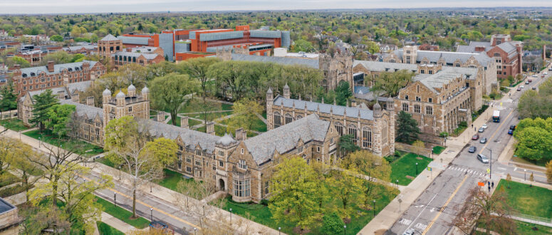 Overhead view of college campus buildings